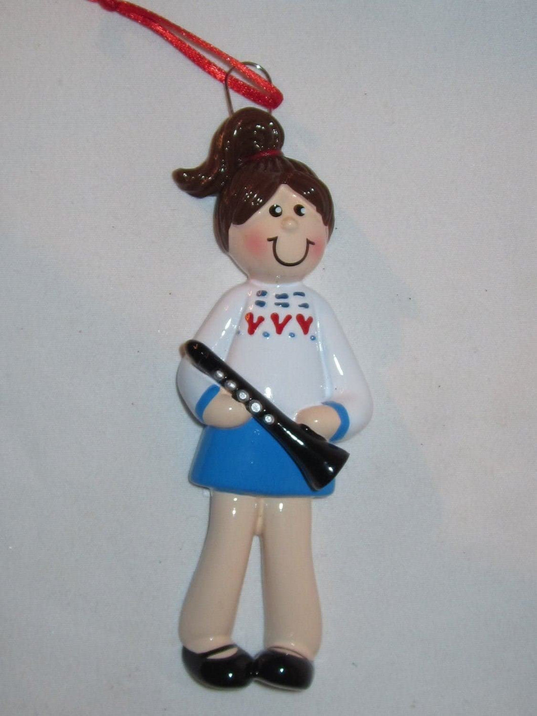 Brunette Girl with Clarinet Christmas Ornament