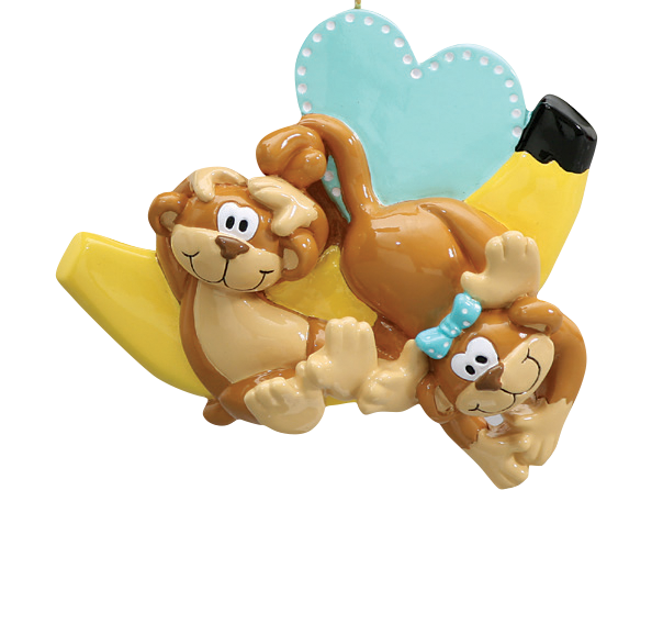 Monkey Couple With Banana Christmas Ornament