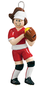 Softball Player In Red Uniform Christmas Ornament