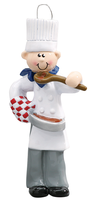 Male Chef Christmas Ornament