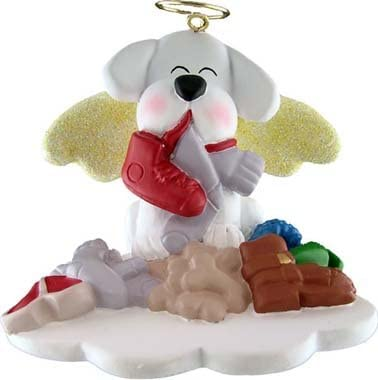 White Dog in Heaven Christmas Ornament