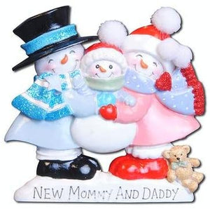 New Mommy and Daddy Snowman Christmas Ornament