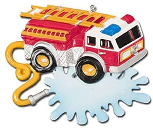 Fire Truck with Banner Christmas Ornament
