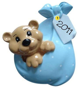 Blue Bundle Bear with Tag Christmas Ornament
