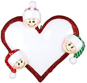 Heart with Faces, Family of 3 - Personalized Christmas Ornament