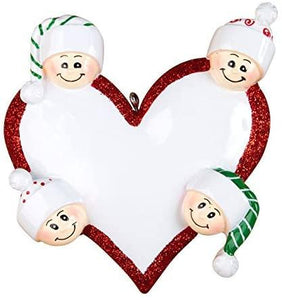 Heart with Faces, Family of 4 - Personalized Christmas Ornament