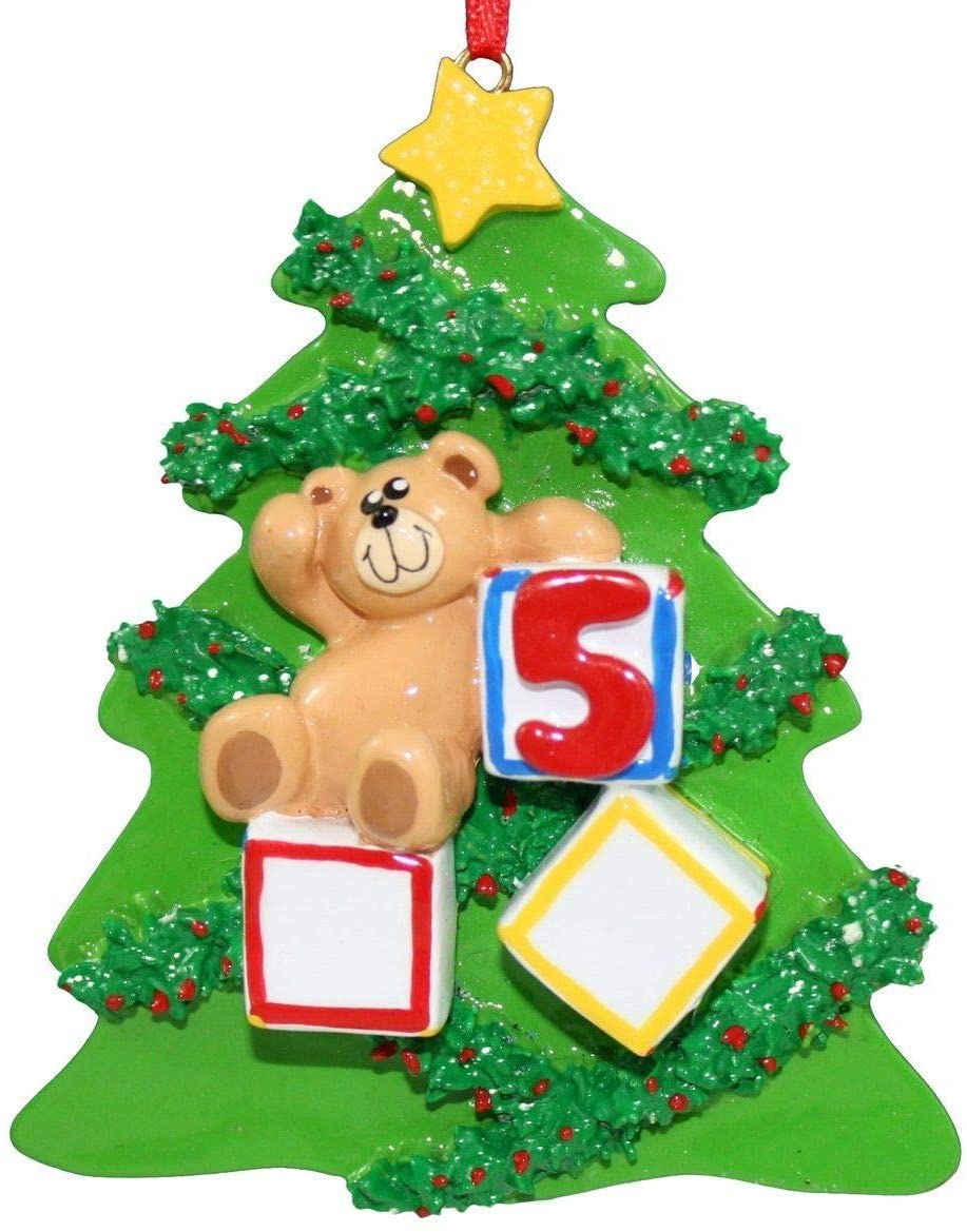 Bear with Blocks 5 Years Old Christmas Ornament