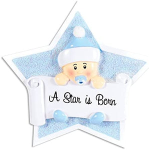 Baby's First- Boy on Star Christmas Ornament