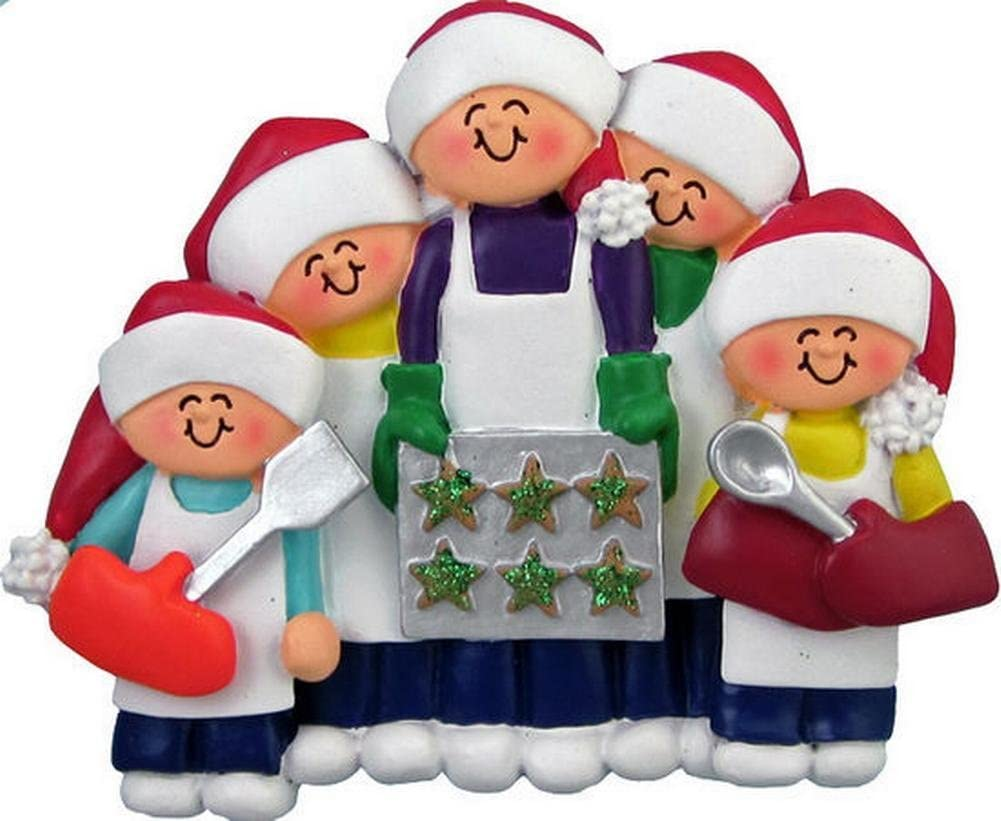 Family of 5 Baking Cookies Christmas Ornament