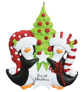 Our First Christmas Penguin Couple Ornament