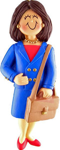 Female Brunette Business Person Christmas Ornament