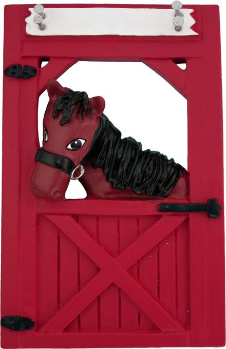 Horse in Red Stable Christmas Ornament
