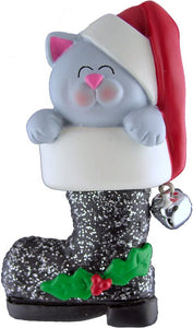Cat in Santa's Boot , Gray Christmas Ornament