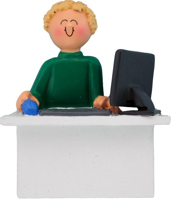 Male Blonde Computer/Office Worker Christmas Ornament