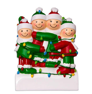 Tangled in Lights Family/Friends of 4 Christmas Ornament