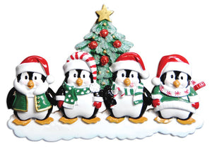 Penguin Family of 4 Christmas Ornament