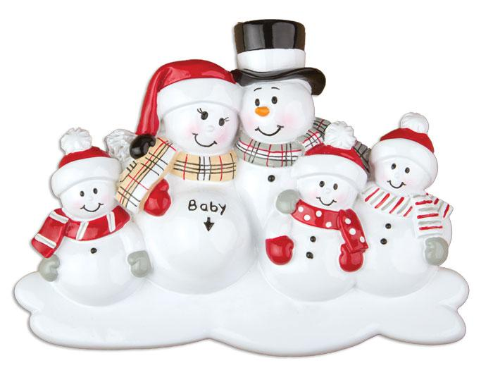 Family of 5 We're Expecting Snowmen Christmas Ornament