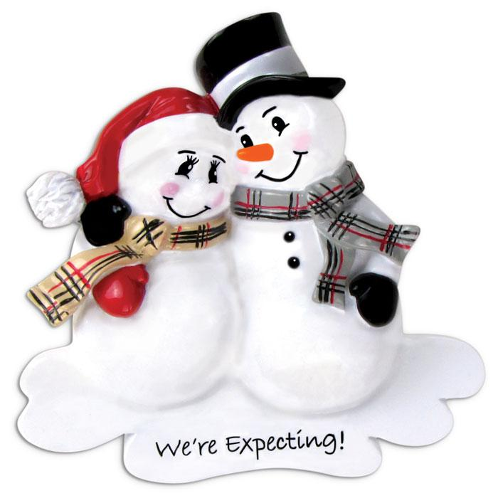 We'Re Expecting Snowman Couple Christmas Ornament
