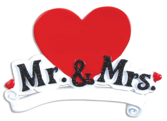 Mr Mrs Red Heart Christmas Ornament