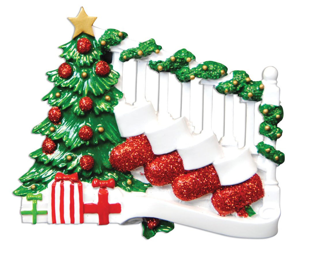 Bannister with 4 Stockings Family/Friends Christmas Ornament