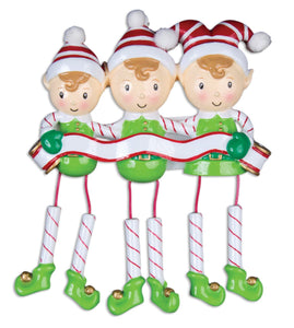 Dangling Elf Family/Friends Of 3 Christmas Ornament