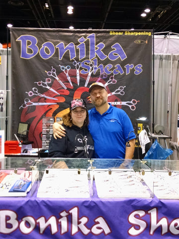 Mystie Hunter and Jay Hunter at a Bonika Shears hair show