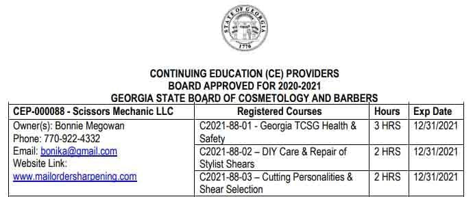 Certificate of CE for cosmetologist in GA