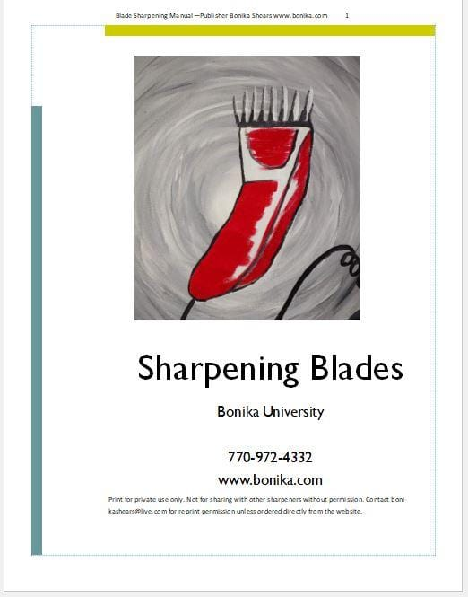 Sharpening Blades Training Manual PDF Download - Bonika Shears