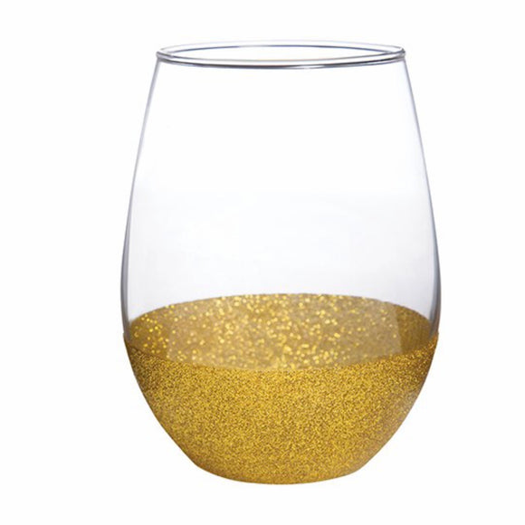 Gold Glitter Wine Glass