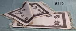 Cotton place mats with dog or cat paw prints and border, set of 4