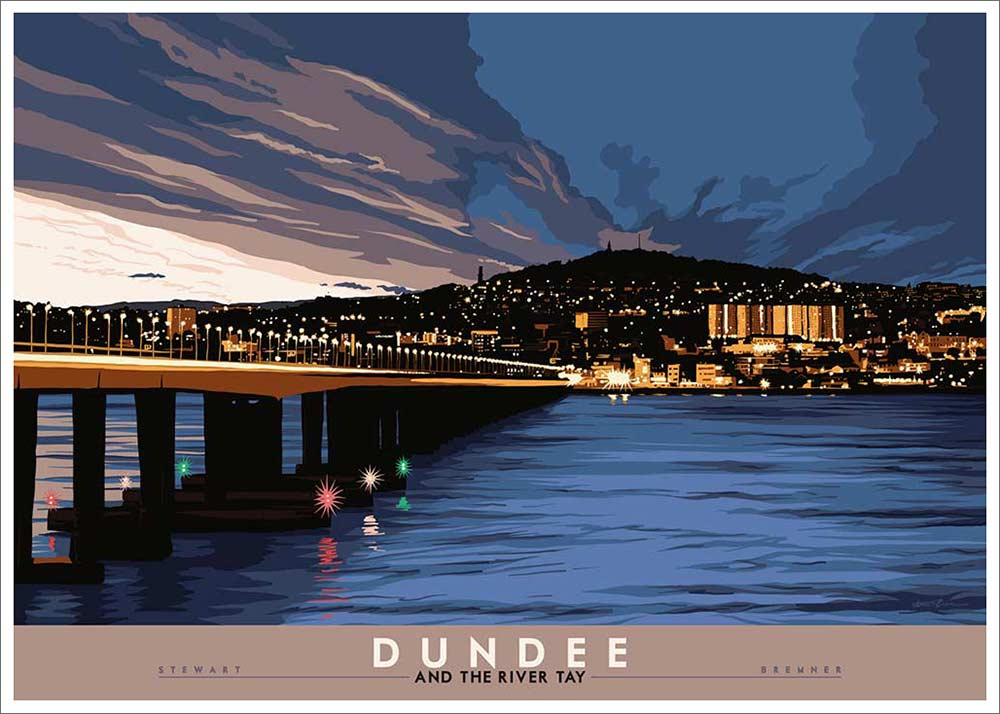 Dundee River Tay Vintage railway style poster - quirky coo gifts dundee