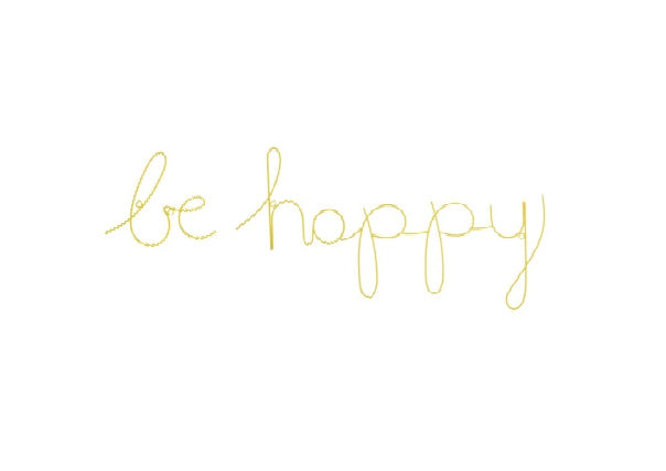Be Happy Wire Word - Bright Yellow