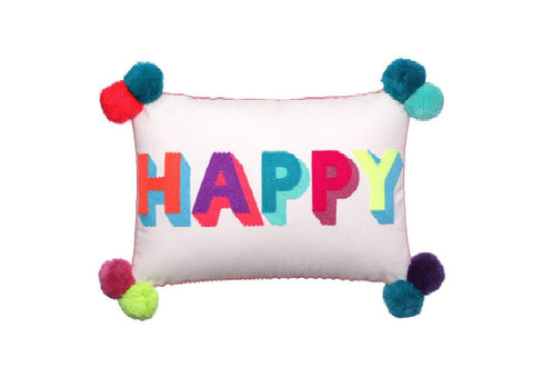Happy Embroidered Cushion