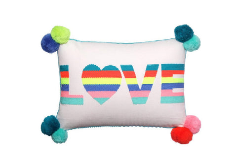 Love Embroidered Cushion in multi-coloured stripes
