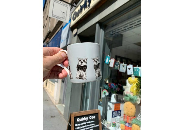 quirky coo gillian kyle scottie dog mug - scottish gifts dundee, perth, aberdeen