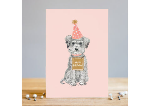 Birthday Dog with Party Hat Card