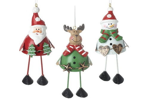 Santa, Snowman & Deer Metal Tree Decorations