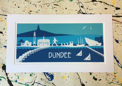 Dundee Skyline Papercut Mounted Print