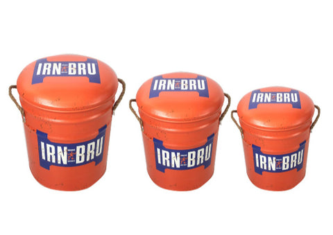 Irn Bru Metal Stools with removable padded seats