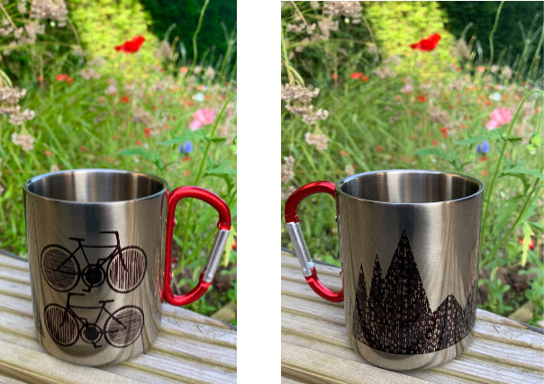 biking camping mug jenni douglas - quirky coo, scottish gifts, dundee, perth, aberdeen