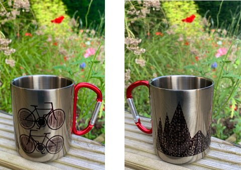 Biking Camping Mug by Jenni Douglas Designs