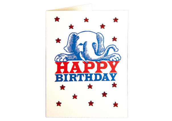 Birthday card elephant - quirky coo, gifts, cards, dundee, perth, aberdeen