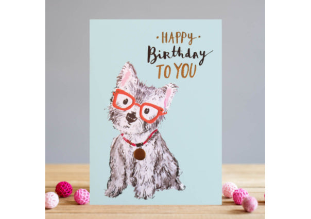 birthday card westie dog  - quirky coo, cards, gifts, dundee, perth, aberdeen