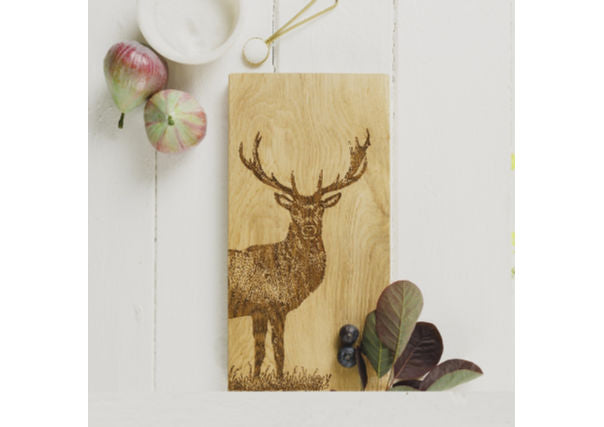 Just slate stag scottish oak serving board - quirky coo, gifts perth dundee aberdeen