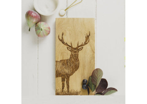 Just Slate Scottish Oak Stag Serving Tray