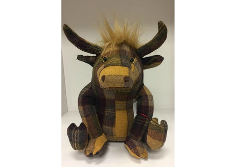 Plaid Highland Cow Doorstop by Dora Design