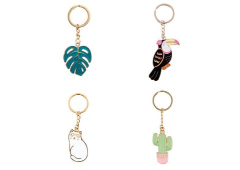 Cactus/Cat/Cheese Plant/Toucan - Enamel Keyrings