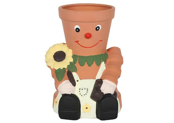 Quirky Coo terracotta pot man with sunfower - gifts, dundee, perth, aberdeen