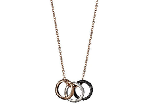 b7d6e2bd4eebfe 3 ring pendant Rose Gold Necklace by Pilgrim