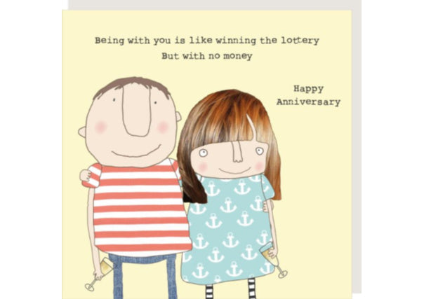 Anniversary won the lottery - quirky coo, cards, gifts, dundee, scottish, perth